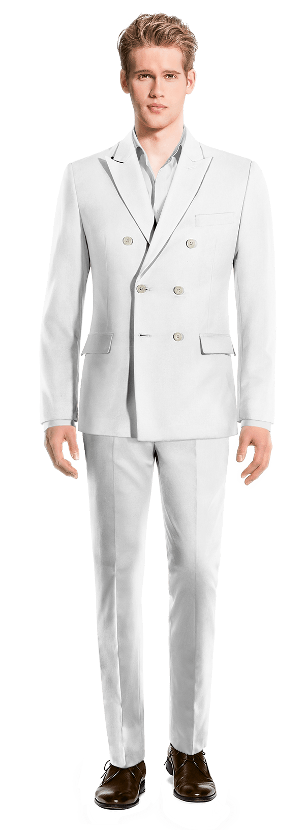 White Double breasted linen Suit