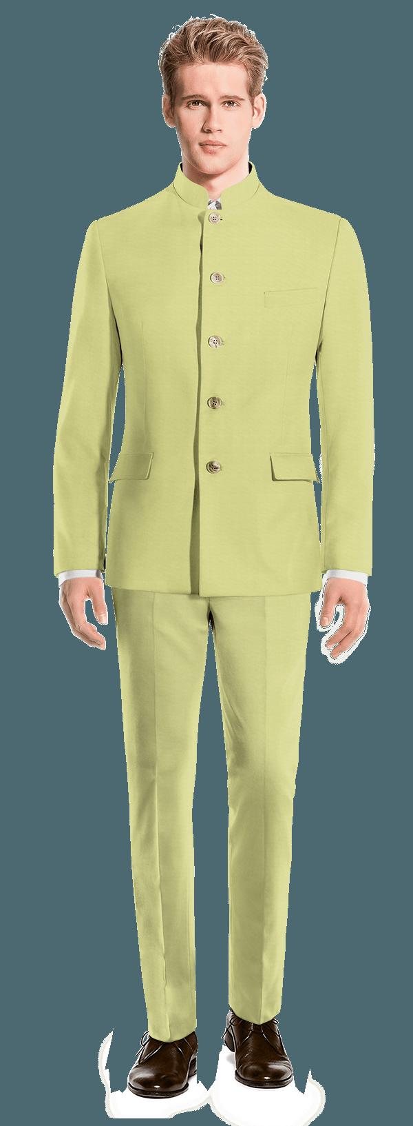 зеленый твидовый Костюм Mao
