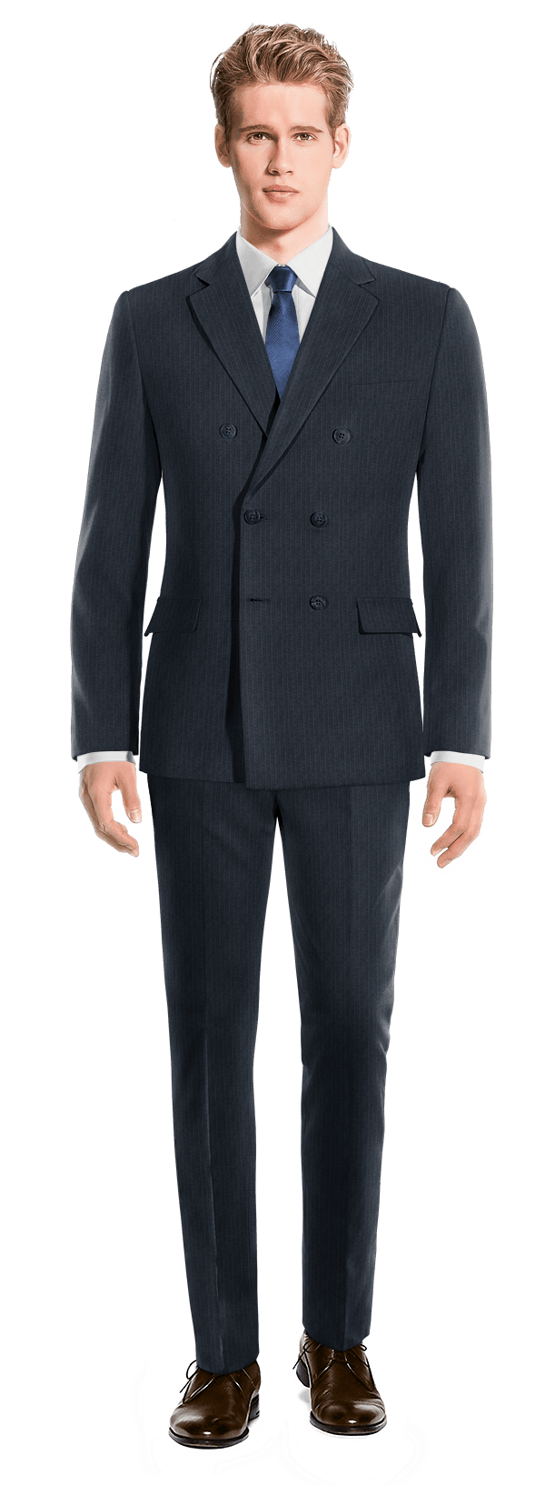 Costume bleu croisé à rayures en Laine
