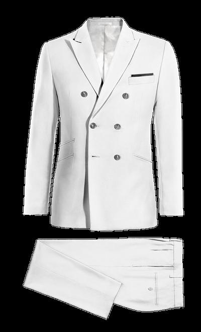Traje blanco cruzado de Lino af35b3aa163
