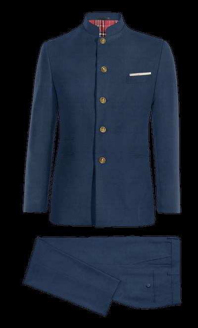 Schwarzer Stehkragen Anzug aus Cord 209€ - Wavy Black