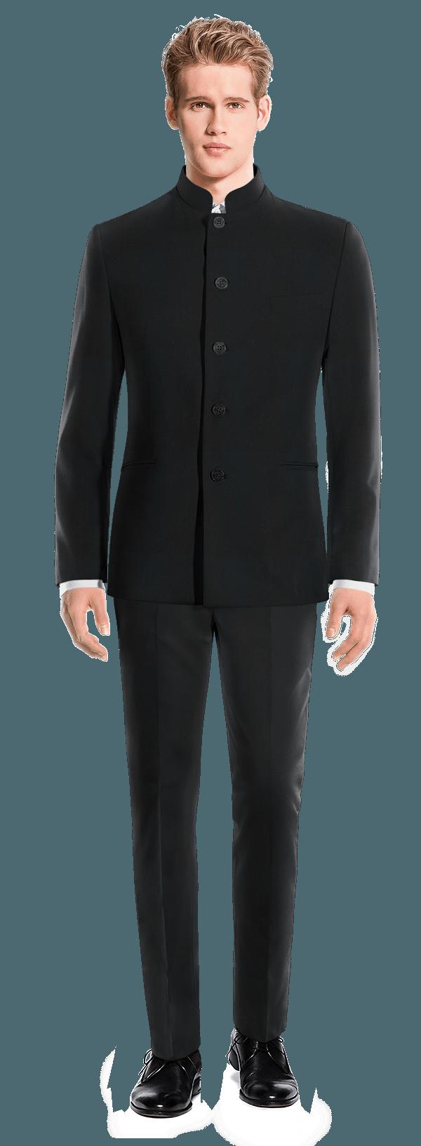 Black Mao 100% Wool Suit