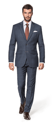 Blue checked Merino wool Suit-falti