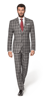 Grey checked 100% Wool Suit-08