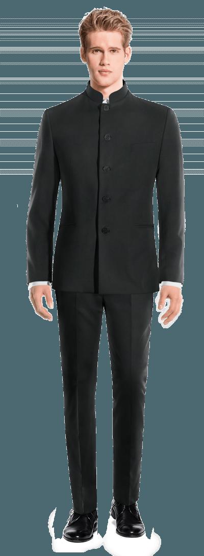 Schwarzer Stehkragen Anzug aus Wolle 480€ - Vetreli Black