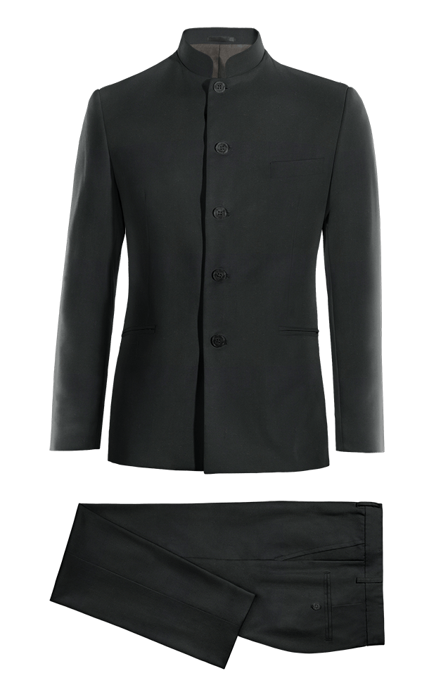 Black Mao Merino wool Suit