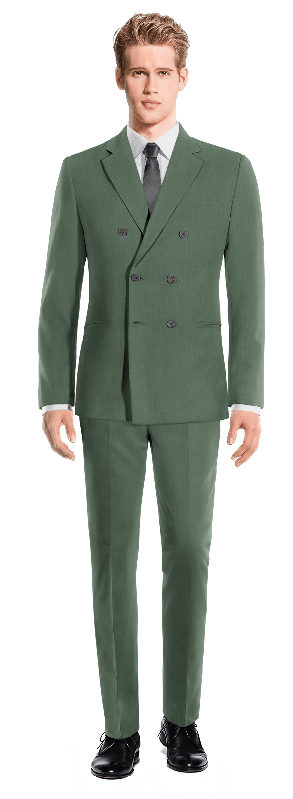 Green Double breasted wool Suit