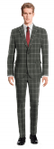 Grey checked 100% Wool Suit-View Front