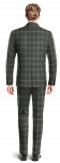 Grey Double breasted checked 100% Wool Suit-View Back