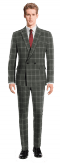 Grey Double breasted checked 100% Wool Suit-View Front
