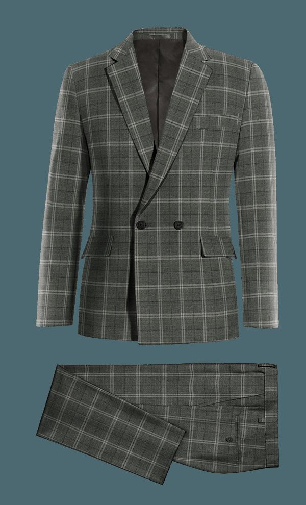 Costume gris croisé à carreaux 100% laine