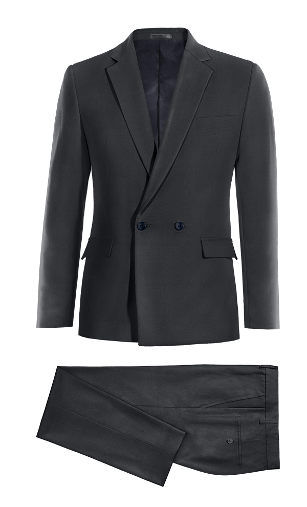 Blue Double breasted Merino wool Suit