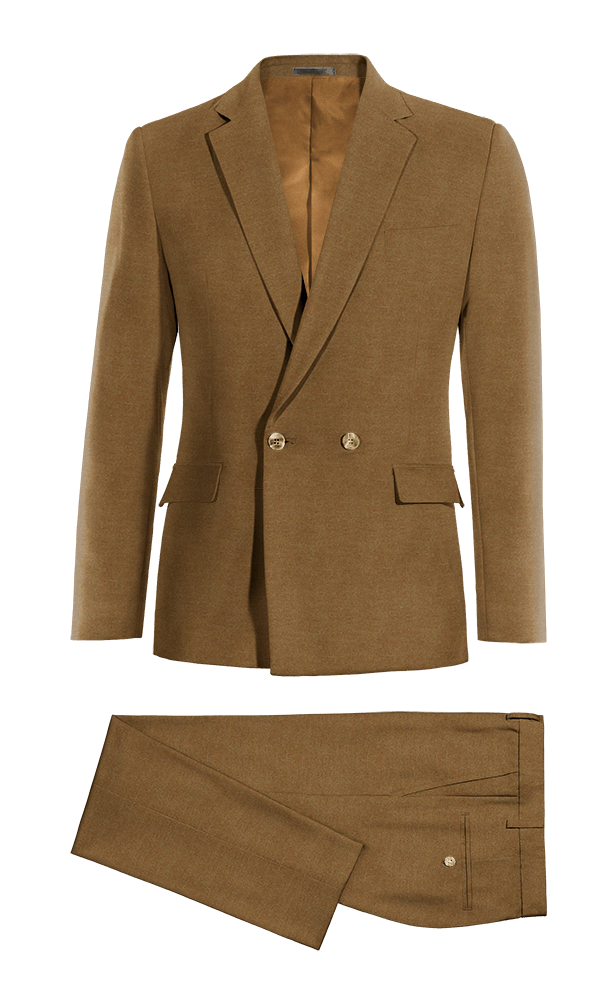 Brown Double breasted cotton Suit