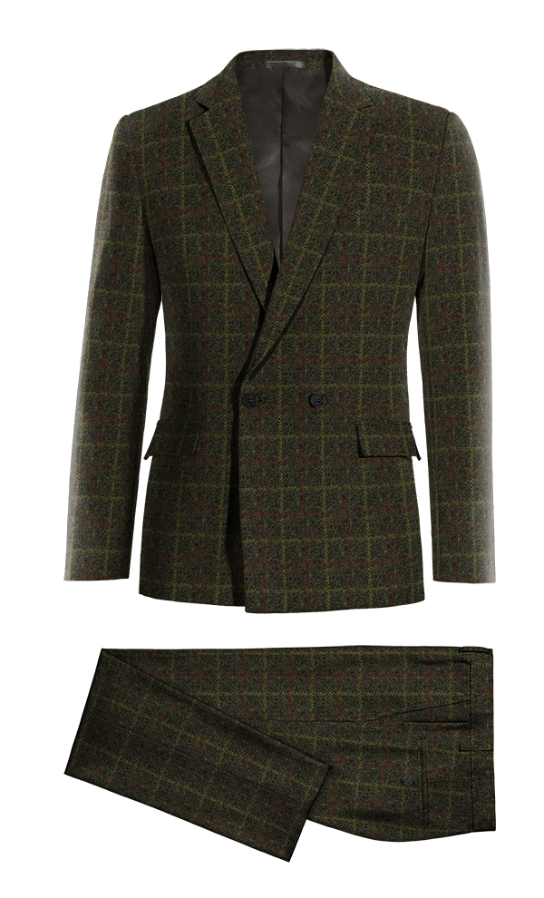 Green Double breasted checked tweed Suit