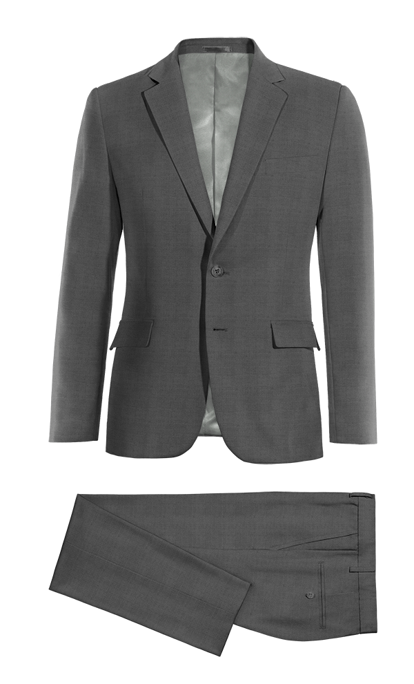 Grey 100% Wool Suit
