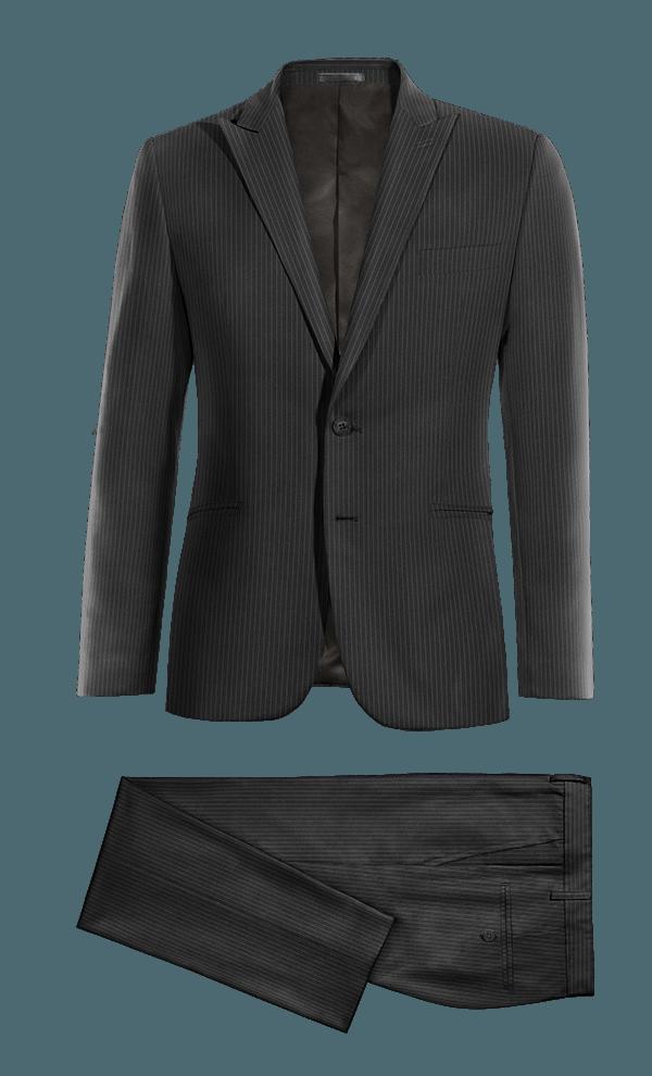 Black striped 100% Wool Suit