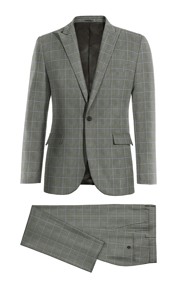 Costume gris à carreaux en Laine