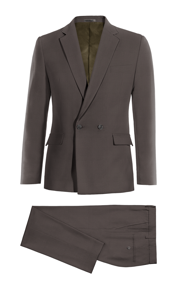 Grey Double breasted cotton Suit