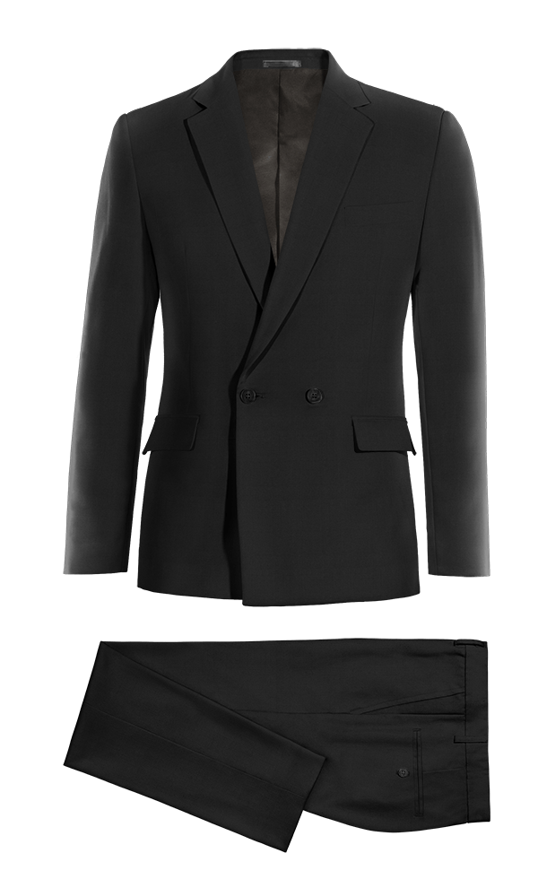 Black Double breasted cotton Suit