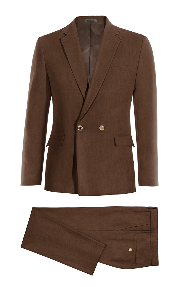 Brown Double breasted linen Suit