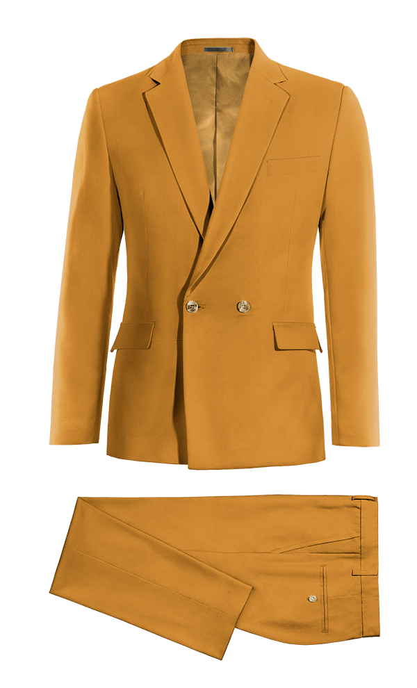 Yellow Double breasted cotton Suit