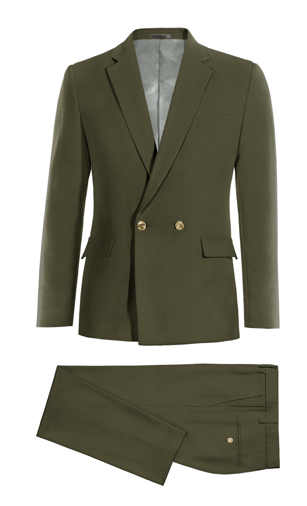 Green Double breasted cotton Suit