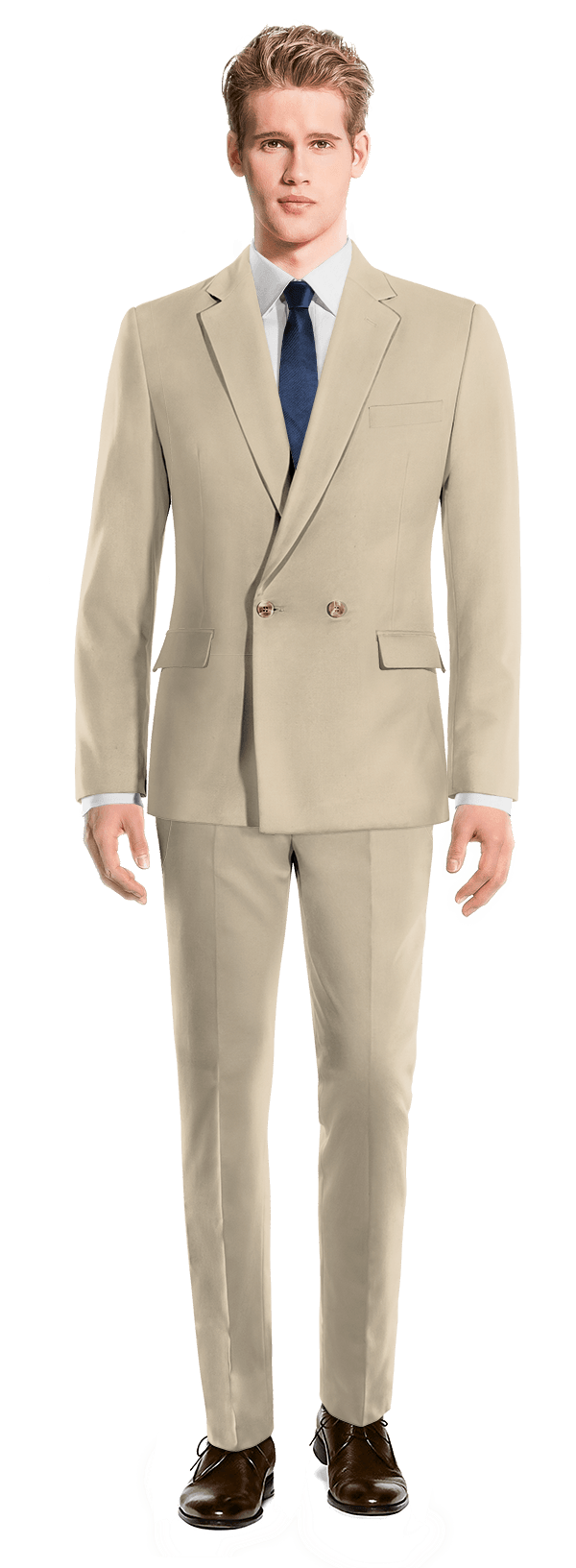 Beige Double breasted cotton Suit