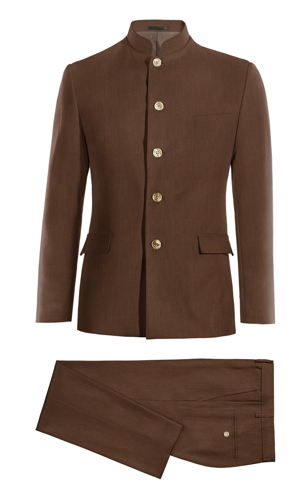 Brown Mao linen Suit