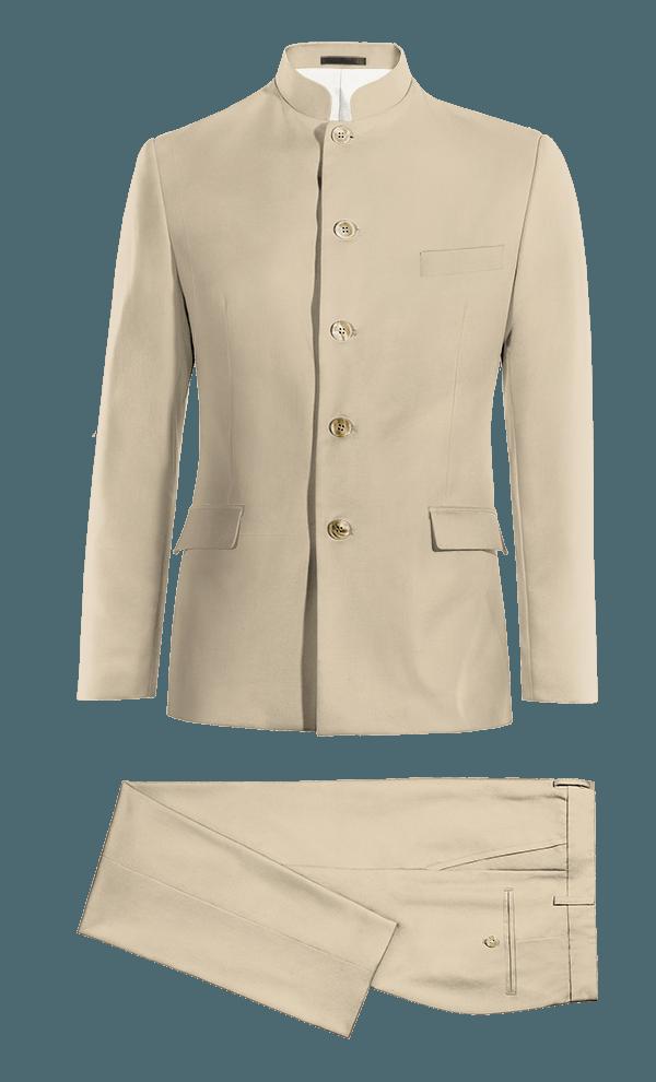 Costume beige Mao en Coton