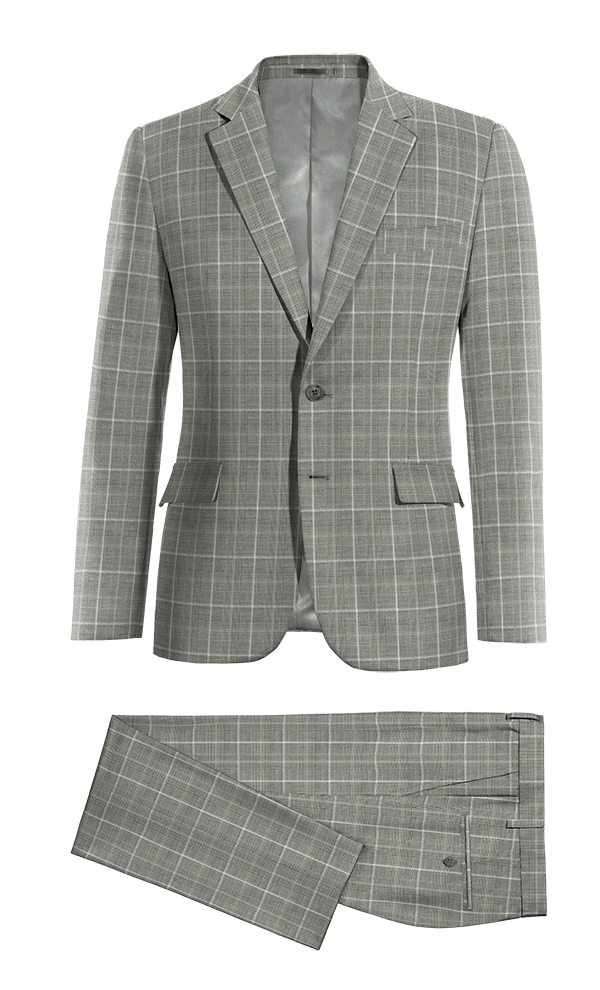 Grey checked 100% Wool Suit