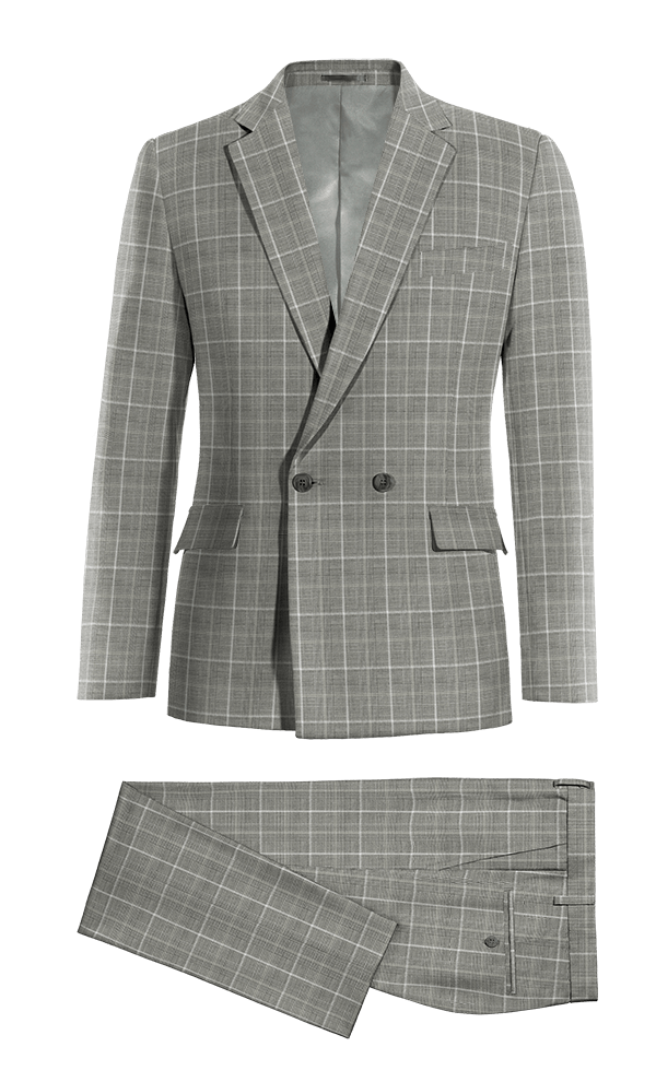 Grey Double breasted checked 100% Wool Suit