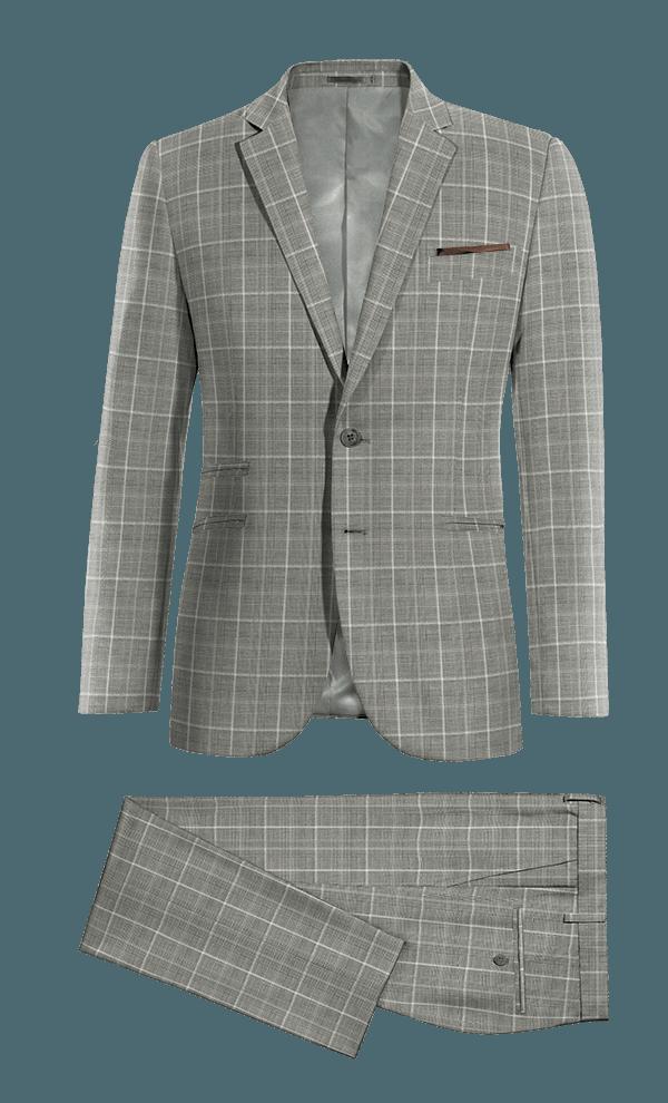 Costume gris à carreaux 100% laine