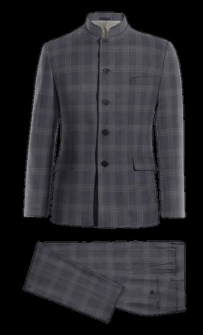 Costume marron Mao à carreaux en tweed 229€ - Davenport  6a6d1bc38c5