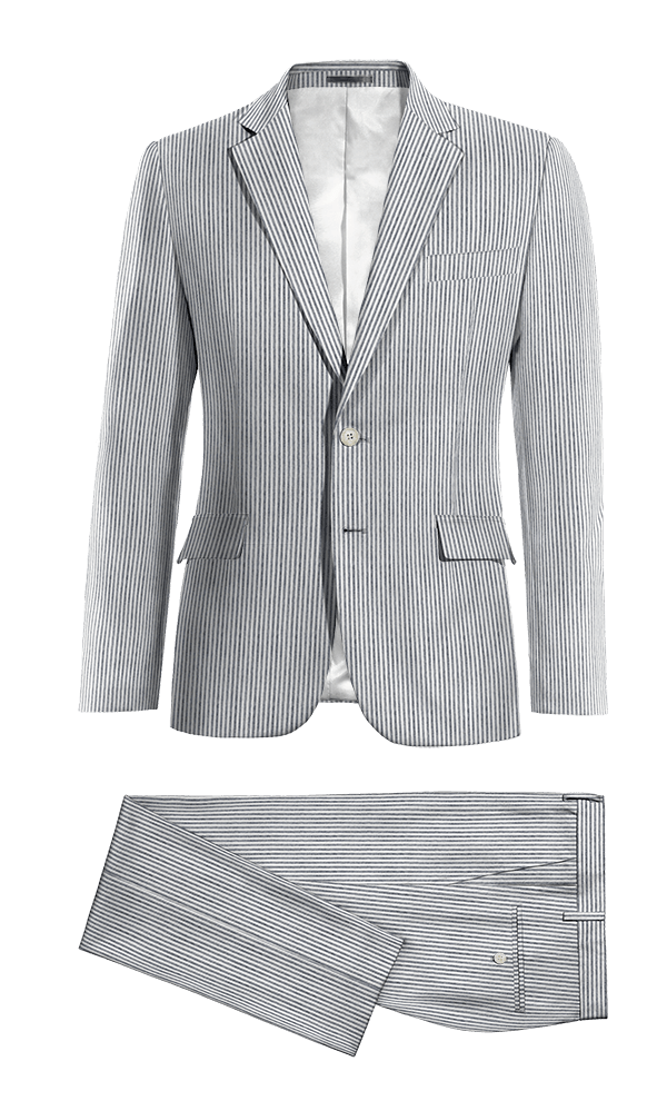 Blue striped seersucker Suit