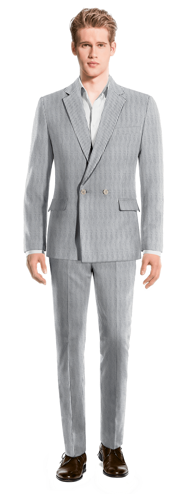 Blue Double breasted striped seersucker Suit £209 - Salley ...