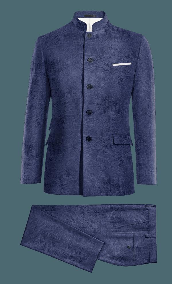 Blue Mao paisley velvet Suit