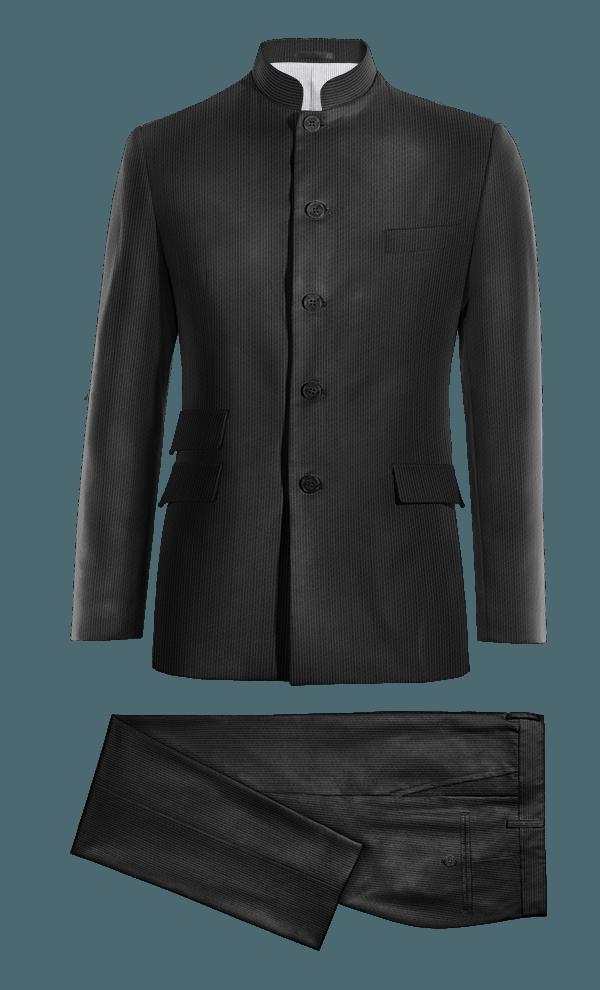 Costume noir Mao en Velours côtelé