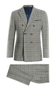 Grey Double breasted checked 100% Wool Suit-without_model