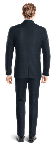 Blue striped Merino wool Suit-View Back