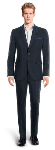Blue striped Merino wool Suit-View Front