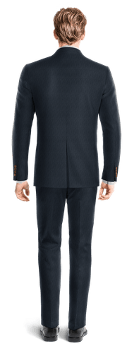 Blue Double breasted striped Merino wool Suit-View Back