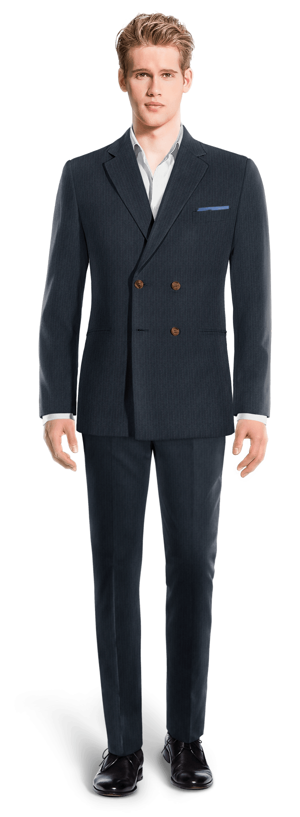 Blue Double breasted striped Merino wool Suit
