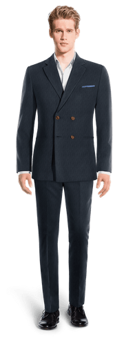 Blue Double breasted striped Merino wool Suit-View Front