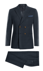 Blue Double breasted striped Merino wool Suit-without_model