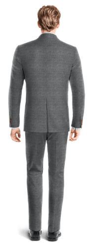 Blue Double breasted Houndstooth linen Suit-View Back