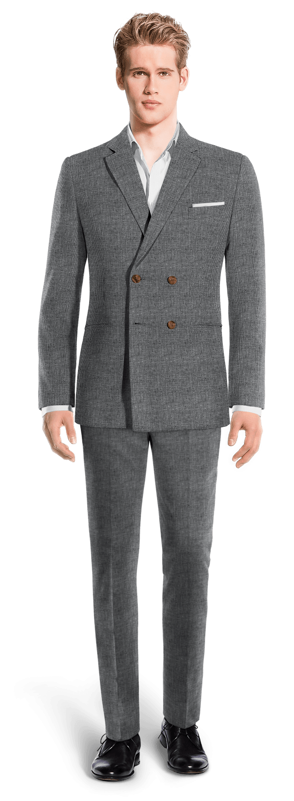 Blue Double breasted Houndstooth linen Suit