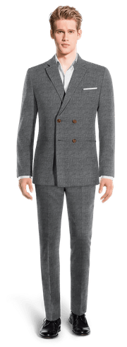Blue Double breasted Houndstooth linen Suit-View Front