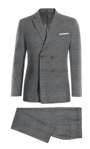 Blue Double breasted Houndstooth linen Suit-without_model