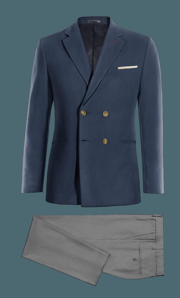 Costume bleu croisé 100% laine