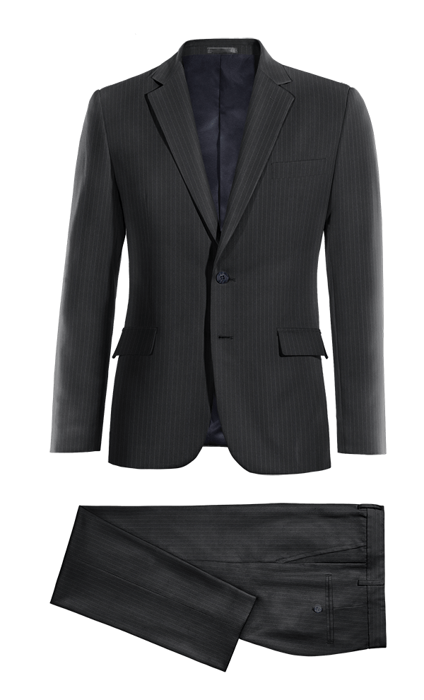 Blue striped 100% Wool Suit